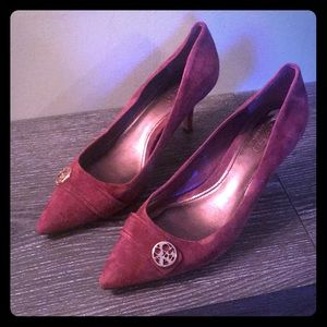Maroon suede kitten heel coach shoes